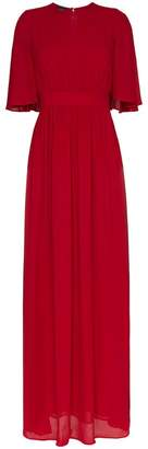 Giambattista Valli crew neck frill silk maxi dress