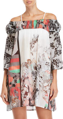 e23fcf4696 ... Save The Queen Printed Off-the-Shoulder Cover-Up Tunic