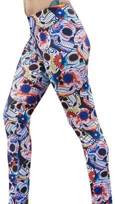 Changeshopping 1 PC Fashion Women Girls Skull Printed Mid Waist Stretchy Leggings (M, )