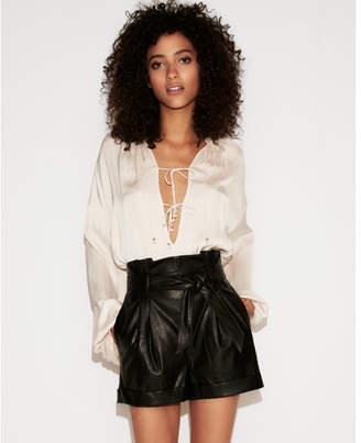 Express high waisted Faux leather sash waist shorts