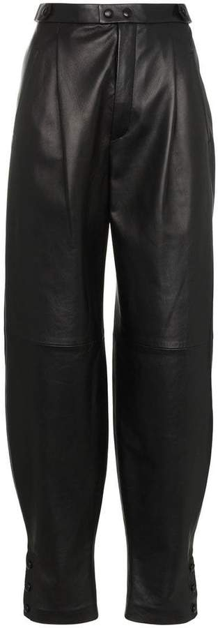 high waisted front pocket leather trousers
