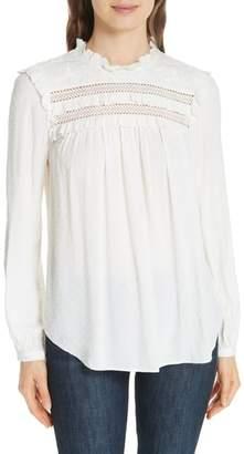 Kate Spade swiss dot high neck blouse