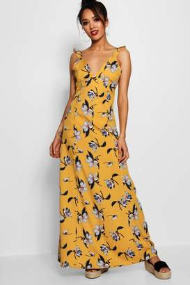 boohoo Petite Floral Tie Back Woven Maxi Dress