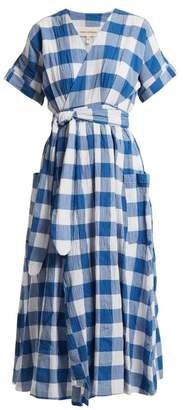 Mara Hoffman Ingrid Gingham Crinkled Cotton Wrap Dress - Womens - Blue White