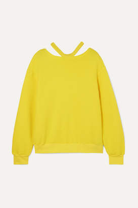 Unravel Project Appliquéd Cutout Cotton And Cashmere-blend Sweater - Yellow