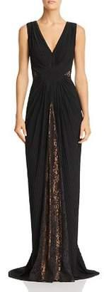 Tadashi Shoji Lace & Pintuck Sleeveless Gown