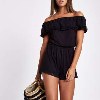 River Island Black lace trim bardot romper