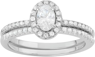 Sterling Silver Cubic Zirconia Halo Engagement Ring Set