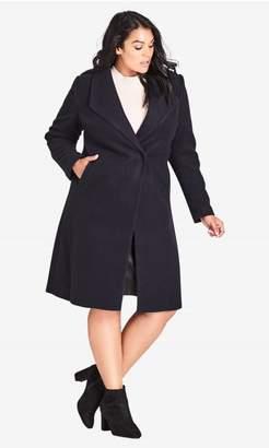City Chic Citychic Simple Wrap Coat - Navy