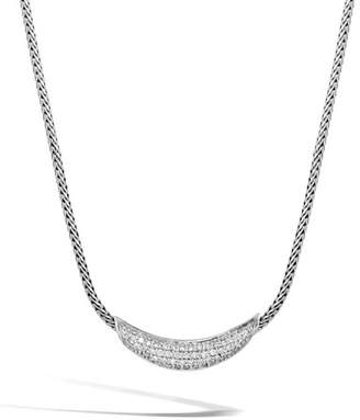 John Hardy Classic Chain Silver Diamond Arch Necklace, 18""