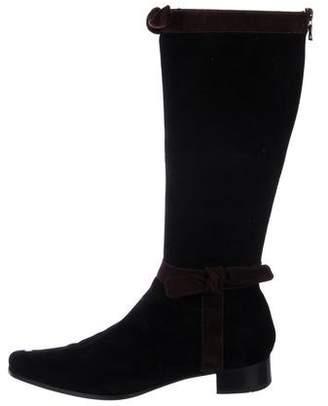 Prada Suede Round-Toe Knee-High Boots