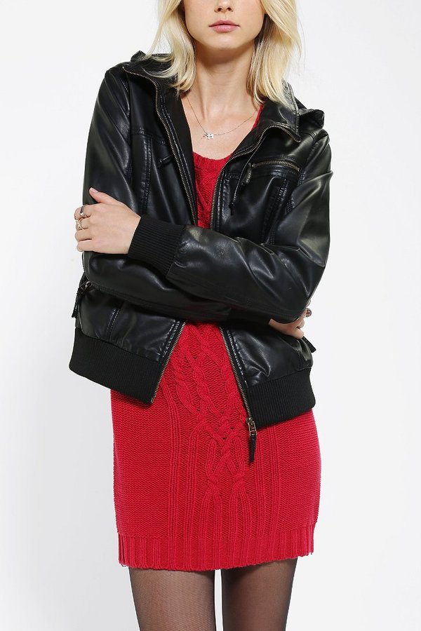 Silence & Noise Silence + Noise Vegan Leather Hooded Bomber Jacket