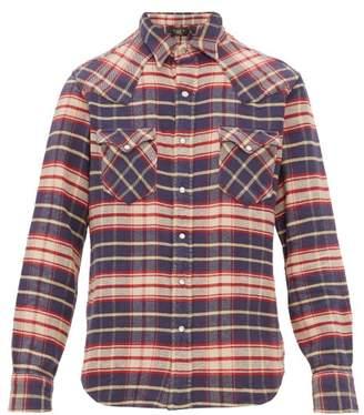 Ralph Lauren RRL Checked Cotton Flannel Shirt - Mens - Navy Multi