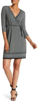 Max Studio Printed Long Sleeve Jersey Dress