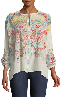 Johnny Was Valley Embroidered Button-Front Blouse
