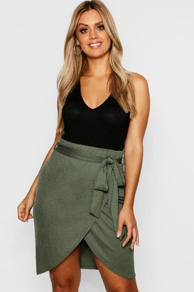 boohoo Plus Wrap Tie Mini Skirt