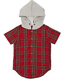 Haus of JR Kids' George Cotton Flannel Hooded Shirt-Red