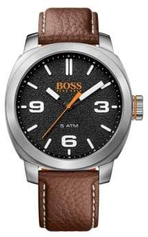 BOSS Analog Cape Town Casual Stainless Steel and Leather Strap Watch