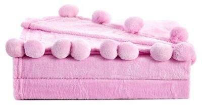 De Moocci Pom Fringe Twin Blanket in Pink