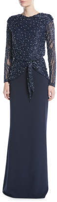 Rachel Gilbert Hand-Beaded Long-Sleeve Evening Gown w/ Crepe