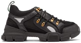 Gucci Journey Trek Panelled Leather And Mesh Trainers - Mens - Black
