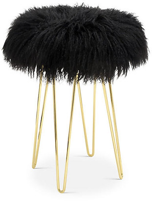 Le-Coterie Curly Hairpin Counter Stool - Brass/Black