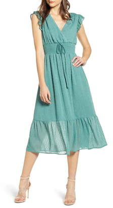 ENGLISH FACTORY Smock Waist Ruffle Sleeve Cotton & Linen Dress