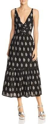 Rebecca Taylor Jaipur Floral & Metallic Stripe Dress