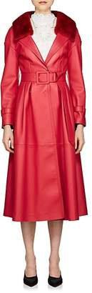 Fendi Women's Fur-Collar Belted Leather Coat