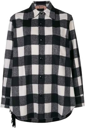 No.21 oversized checked flannel shirt