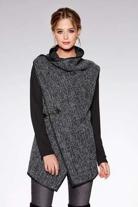 Quiz Black and Grey Contrast Sleeve Waterfall Jacket