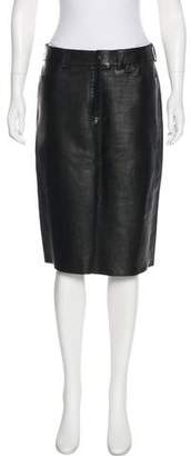 Gucci Knee-Length Leather Skirt