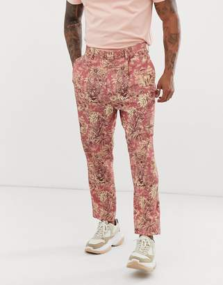 Asos Design DESIGN tapered crop suit pants with elephant print in linen look