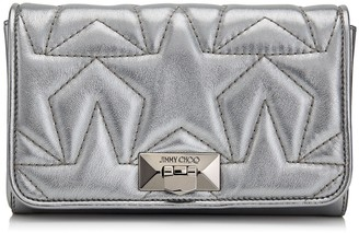 Jimmy Choo HELIA CLUTCH Anthracite Leather Clutch with Chain Strap