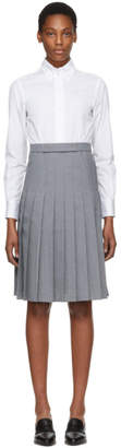 Thom Browne White and Grey Shirt Dress