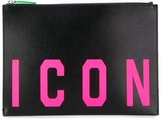 DSQUARED2 'Icon' print clutch bag