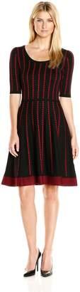 Gabby Skye Women's Elbow Sleeved Dotted Stripe Sweater Dress