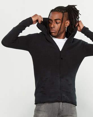 Dstrezzed Black Knit Zip-Up Hoodie