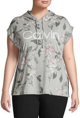 Calvin Klein Plus Short Sleeve Logo Hoodie