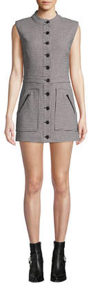 Veronica Beard Leigh Houndstooth Button-Front Mini Dress