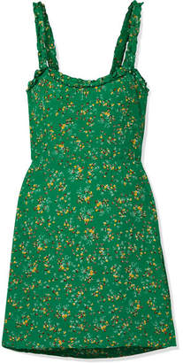 Faithfull The Brand Esther Ruffle-trimmed Floral-print Crepe Mini Dress - Green
