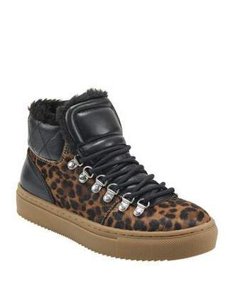 Marc Fisher Daisie 2 Leopard and Faux-Fur Sneakers