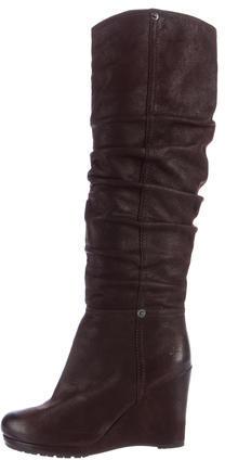 pradaPrada Leather Wedge Knee-High Boots