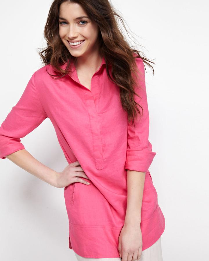 Neiman Marcus Linen Tunic, Pink Punch