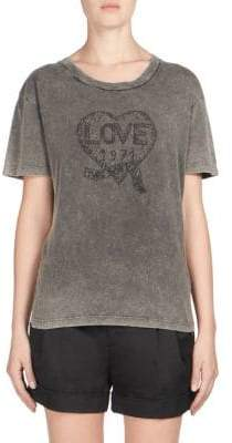 Saint Laurent Distressed Love Graphic Tee