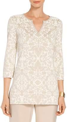 St. John Gold Leaf Brocade Knit V-Neck Tunic