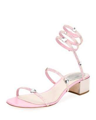 Rene Caovilla Snake-Wrap Satin Block-Heel Sandal with Hearts