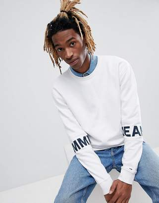Tommy Jeans Essential Band Sleeve Logo Crewneck Sweatshirt in White