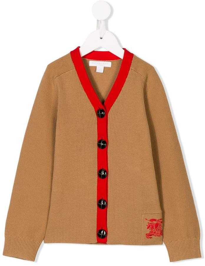 Burberry Kids embroidered logo cardigan
