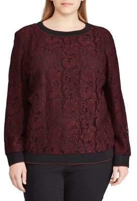 Lauren Ralph Lauren Plus Floral Lace Crewneck Pullover